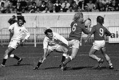 Jean Pierre Rives and Jacques Fouroux on the attack against England 1976