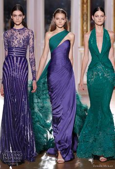 Zuhair Murad   Fall & Winter Couture Collection '12-'13  Love the jewel tones    #couture #teal #eveninggown #gown #prom #formal #grecian #plungeneck #oneshoulder #formfitting #jeweltones #purple #teal #emerald #couture  #ZuhairMurad