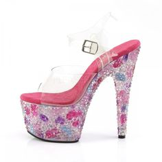 Heel, 2 Platform Ankle Strap Sandals Featuring Entire Bottom Fully Encrusted With Colorful Pyramid Stones Baby Halloween Costumes For Boys, Boy Costumes, 7 Inch Heels, Ankle Strap Sandals, Stiletto Heels, Platform, Crystals, Pink, Shoes