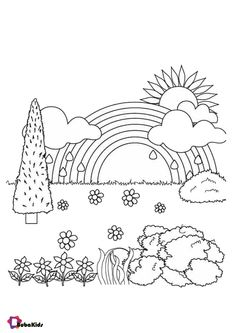 Rainbow sun cloud tree and flowers coloring pages | BubaKids.com Easy Coloring Pages, Cartoon Coloring Pages, Colorful Flowers, Preschool, Rainbow, Clouds, Sun, Heart Shapes, Puppys