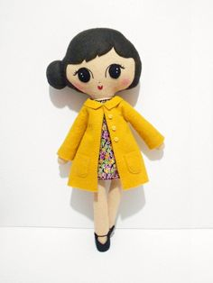 Frankie Retro Felt Softie Doll... make as many coats  like this one as colors you can think of...