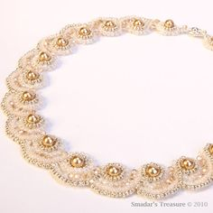 Crystals and Pearls Choker Necklace in Cream by SmadarsTreasure