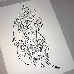 Linework done on this im working on. Skull Tattoo Design, Tattoo Design Drawings, Skull Tattoos, Tattoo Sketches, Tattoo Designs, Graffiti Drawing, Graffiti Art, Desenho New School, Chicano Lettering