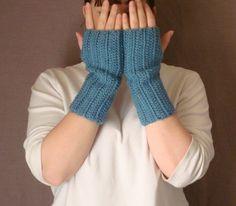Dusty Blue Fingerless Gloves for Men or Women - Crochet Fingerless Gloves, Wrist Warmers, Arm Warmers, Fingerless Mittens, Mitts by HoookedHandmade, $16.00