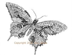 Butterfly Word Art Calligram | Word Art | Pinterest