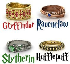 Hogwarts Houses Rings --- Inspired, of course, by the Harry Potter novels series of books by J.K. Rowling!