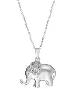 Diamond Elephant Pendant Necklace in Sterling Silver (1/10 ct. t.w.)
