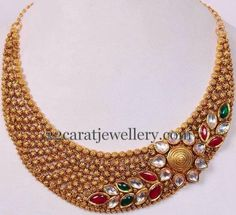 Gold Choker with Colorful Kundans | Jewellery Designs