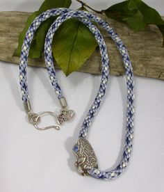 Kumihimo necklace with fine silver slide by superfluityshop, $110.00