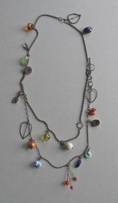 Micki Lippe,   Oxidized sterling silver & 22k & assorted stones -- long choker