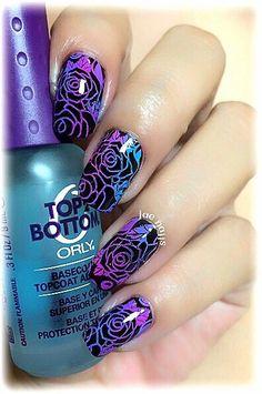 Purple flower nails.