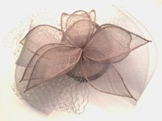 Sinamay-Silver-Gray-Floral-Cocktail-Hat-Fascinator-on-Headband-Fishnet-Fabric