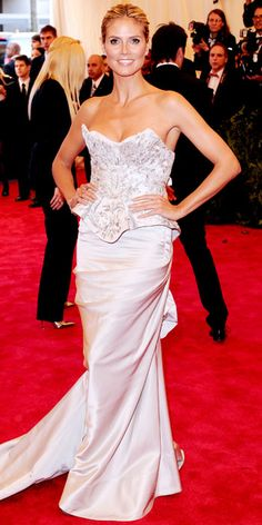 Heidi Klum in a Marchesa gown and Harry Winston jewelry.