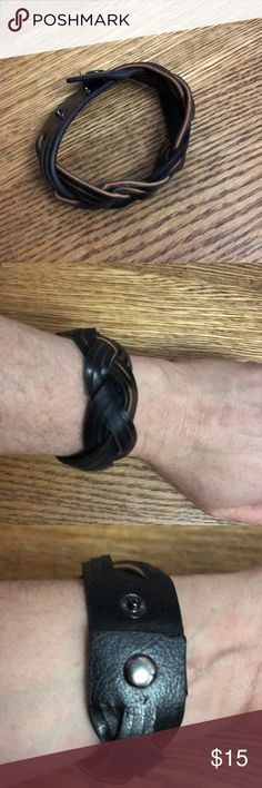 Black leather bracelet Woven leather Celtic bracelet. Two snaps to adjust sizing. Work only a few times Jewelry Bracelets