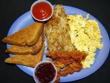 Breakfast Plate :Comes with eggs, bacon, potatoes and toast from Pico Pica Rico Restaurant in Los Angeles #Food #Breakfast #Restaurant forked.com