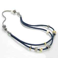 The Blue Leather Bracelet being used with a silver Trollbeads chain to create a necklace.