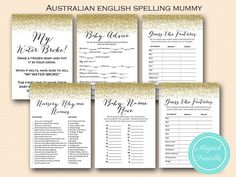 Gold Glitter Baby Shower Games Printable Baby by MagicalPrintable
