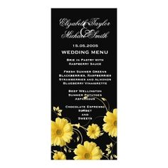 Summer Wedding Menu Luxury Yellow Gerbera Swirls Wedding Menu Card