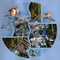 papercraft scrapbook layout--interesting odd shapes of photos within the circle