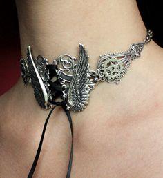 Steampunk choker Tattoo Angel's wings gears by pinkabsinthe, $35.00