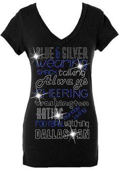 Blue, and Silver Wearing Ladies Dallas V-neck Rhinestone/stud Shirt – Fan Bling HQ
