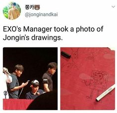 This is so cute. Drawing mastr and dancing machine KIM JONG IN (KAI). He looks so lovely in that crown though. Exo Ot12, Kaisoo, Chanbaek, Chanyeol, Kyungsoo, Funny Kpop Memes, Exo Memes, Exo Facts, Kim Minseok