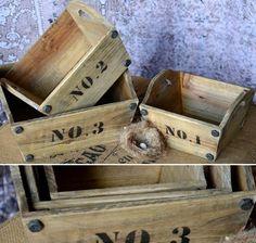 Numbered Wooden Trug, Set of 3