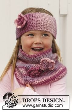 Pink Parfait - Crochet headband and neckwarmer for children in DROPS Big Delight - Free pattern by DROPS Design Crochet Kids Hats, Crochet Girls, Crochet Beanie, Love Crochet, Crochet Scarves, Diy Crochet, Crochet Clothes, Crochet Baby, Crochet Headbands