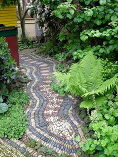 Pebble Mosaic Pathway Set in Mortar - via Jeffrey Bale's World of Gardens: Pebble Mosaic for the Garden