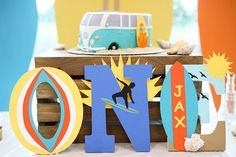 Beach Themed Wooden Letters. Surf Themed Wooden Letters. Beach Party Decor. Surf Party Decor. Rad ONE Party Decor. Beach Birthday Photo Prop