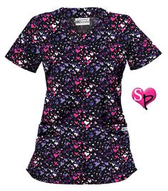 UA Color Of Love Black Print Scrub Top Style # UA194CLB #uniformadvantage #uascrubs #fashiontop #love