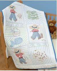 """Jack Dempsey Stamped White Quilt Crib Top 40/""""X60/""""-Kiss Me Goodnight"""