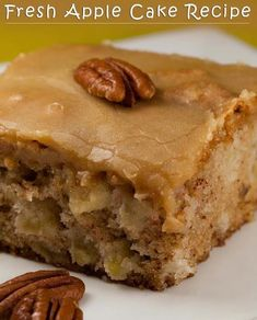 Ingredients:  1 c vegetable oil  2 c sugar  3 eggs  3 c flour  1 tsp baking soda  2 tsp vanilla extract  1 c chopped pecans  3 c peeled and chopped apples      Instructions:  Preheat oven to 350 degrees. Grease a 9 x 13″ pan. Combine oil,