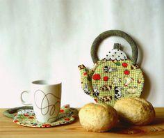Rustic Fabric Coasters Farm coasters set of 2  by BozenaWojtaszek