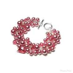 English Rose Garden Pink Swarovski Crystal & by whimsydaisydesigns