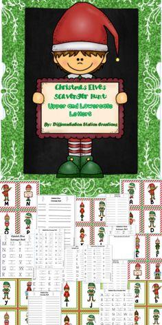 Christmas Elves Alphabet Scavenger Hunt: Upper and Lowercase Letters.  Preschool, kindergarten, special education.