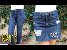 DIY Distressed Denim Skirt from JEANS - NO SEW || Lucykiins - YouTube