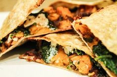 Sweet potato and black bean quesadillas with spinach and feta- made on Very good! Definitely serve with guac and Greek yogurt/sour cream Veggie Recipes, Mexican Food Recipes, Vegetarian Recipes, Dinner Recipes, Cooking Recipes, Healthy Recipes, Healthy Meals, Sweet Potato Quesadilla, Spinach Quesadilla