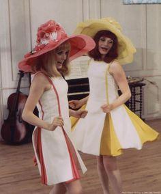 Catherine Deneuve and Françoise Dorléac for the film Les Demoiselles de Rochefort directed by Jacques Demy, France, 1966, by Hélène Jeanbrau