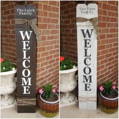 Personalized Welcome Sign For Front Door, Front Porch Decor, Large Vertical Wood Welcome Sign, Cedar Wood Sign, Front Door Welcome Sign Painted Wood Welcome Sign with Burlap ribbon and jute rope Welcome Signs Front Door, Wooden Welcome Signs, Front Porch Signs, Front Door Decor, Door Signs, Entryway Decor, Reclaimed Wood Signs, Diy Wood Signs, Rustic Wood Signs