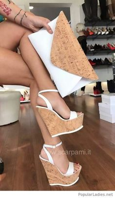 Sexy high wedges with cork sole and white ankle strap Hot Shoes, Crazy Shoes, Wedge Shoes, Me Too Shoes, Shoes Heels, Dress Shoes, Sandals With Heels, Wedge High Heels, High Wedges