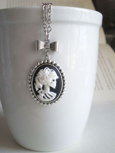 Black White Necklace Skull Jewelry Cameo by mysweetn0vember, $16.50    Got it and love it!!!!!