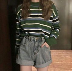 g e o r g i a n a g e o r g i a n a stripy jumper sweater grey denim shorts comf. g e o r g i a n a g e o r g i a n a stripy jumper sweater grey denim shorts comfy ulzzang fashion casual outfits clothes korean fashion spring summer . Retro Outfits, Mode Outfits, Grunge Outfits, Korean Casual Outfits, Korean Outfits School, 80s Inspired Outfits, Korean Fashion Casual, 80s Style Outfits, Ulzzang Fashion Summer
