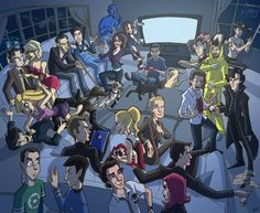 Awesome illustration of characters from The Office, Battlestar Galactica, House, Scrubs, Arrested Development, 30 Rock, Firefly, LOST, Doctor Who, Breaking Bad, The Walking Dead, Buffy the Vampire Slayer, True Blood, Community, Glee, Heroes, How I Met Your Mother, Mad Men, Dexter, Sherlock, Big Big Theory, Star Trek, Chuck, and Alias