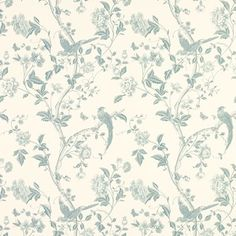 Summer Palace Off White/Duck Egg Blue Wallpaper Laura Ashley