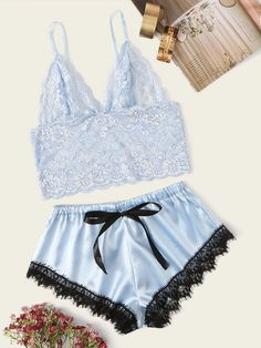 To find out about the Floral Lace Bralette With Satin Shorts at SHEIN, part of our latest Sexy Lingerie ready to shop online today! Lingerie Azul, Sexy Lingerie, Lingerie Bonita, Blue Lingerie, Lingerie Outfits, Pretty Lingerie, Women Lingerie, Lingerie Underwear, Lingerie Shorts