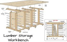 Lumber storage and workbench in one. Organize that stack of lumber, great plan!