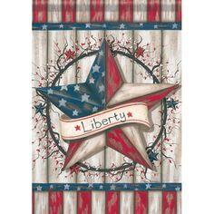Patriotic Barn Star Primitive Garden Flag Liberty Decorative Yard Banner