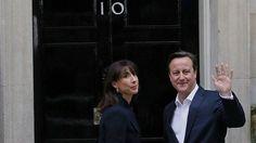 David Cameron and his wife Samantha outside Downing Street
