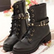 $21.49 Fashion Round Toe Rivets Embellished Lace Up Flat Low Heels Black PU Short Boots